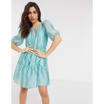 ヴィラ レディース ワンピース トップス Vila organza mini smock dress in blue