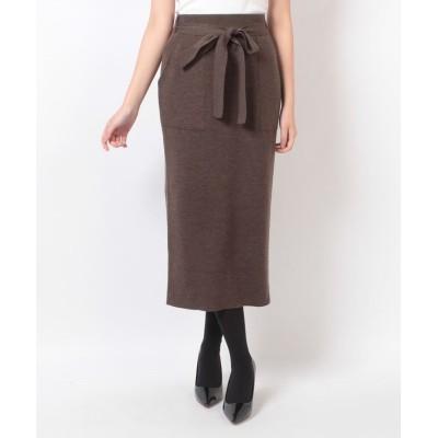 (allureville/アルアバイル)ウールスムースパッチポケットタイトスカート/レディース ダークブラウン