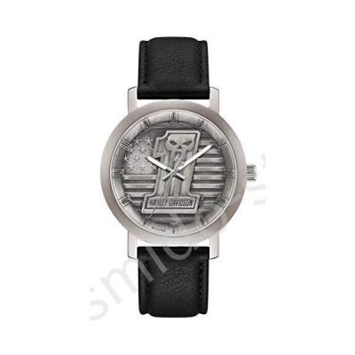 新品未使用!!送料無料!!ハーレーダビッドソン メンズ #1 スカル スター&ストライプ 腕時計 レザーストラ