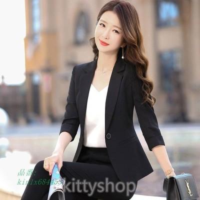 サマージャケット レディース ブラック オフィス ジャケット 7分袖 夏 30代 通勤 白ジャケット 40代 薄手 テーラードジャケット ビジネス OL