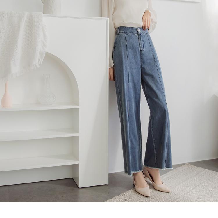 高含棉造型壓褶裝飾抽鬚牛仔長寬褲