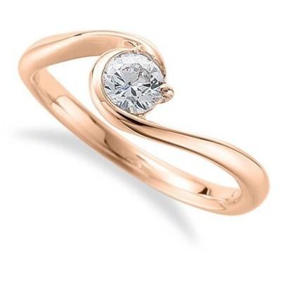 指輪 18金 ピンクゴールド 天然石 一粒リング 主石の直径約4.4mm ソリティア ウェーブ|K18PG 18k 貴金属 ジュエリー レディース メンズ