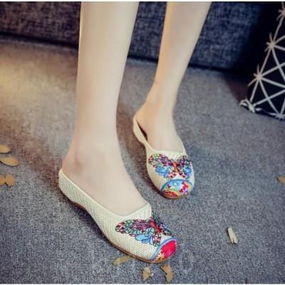 チャイナ靴レディースミュール刺繍コンフォートサンダル中華シューズ布靴ローヒール蝶柄