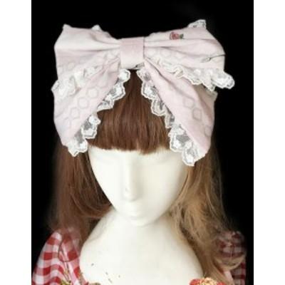 ロリータ ラビット リボンカチューシャ3色 花柄 甘ロリ アイボリー ピンク ネイビー かわいい 上品 ドレス ヘアアクセサリ ヘッドドレス