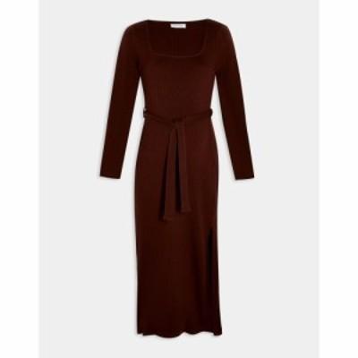 トップショップ マタニティー Topshop Maternity レディース ワンピース ワンピース・ドレス long sleeve column dress in brown ブラウ