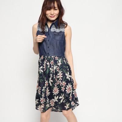 デシグアル Desigual ドレス袖なし (ブルー)