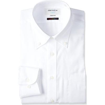 [オリヒカ] 長袖 形態安定ワイシャツ 前肩縫製 選べるバリエーション 【ワイドカラー/ボタンダウン】 メンズ 白(AFLB3E13) 首回り37cm