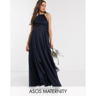 エイソス ASOS Maternity レディース ワンピース ASOS DESIGN Maternity Bridesmaid pinny maxi dress with ruched bodice and layered skirt detail