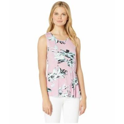 トリバル レディース シャツ トップス Printed Slub Jersey Sleeveless Top with Pleats Pink Mist