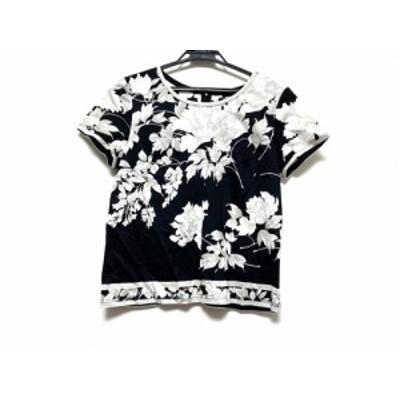 レオナール LEONARD 半袖Tシャツ サイズL レディース - 黒×アイボリー×ベージュ 花柄【BIG SALE対象】【中古】20201121