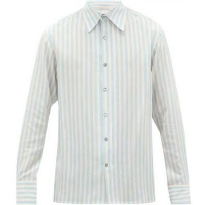 73 ロンドン 73 London メンズ シャツ トップス Portofino striped silk shirt Blue