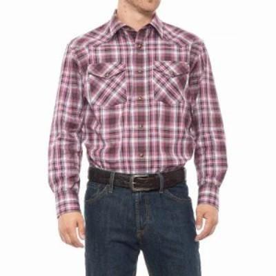 ペンドルトン シャツ Frontier Western Shirt - Snap Front, Long Sleeve Berry/White/Grey Plaid