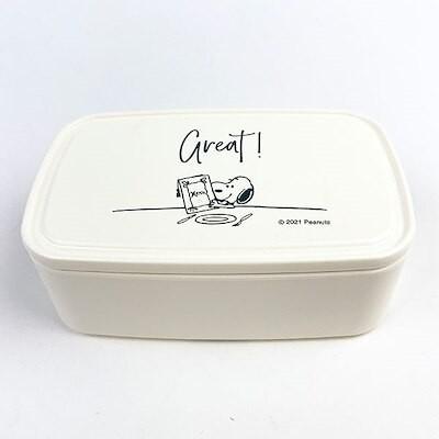 スヌーピー バックランチL テーブル柄 SNOOPY キッチン ランチ ランチボックス ケース 電子レンジ 食洗器 ホワイト L