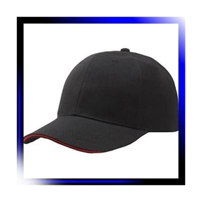 01:ブラック&赤ライン ツバライン シンプル 無地 ベースボールキ
