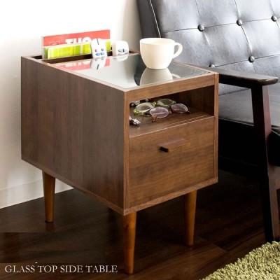 ガラスサイドテーブルのみ 幅30cm 引き出し ガラス天板 木製 省スペース 収納家具 ナイトテーブル ミニテーブル ウォールナット ブラウン  おしゃれ 送料無料