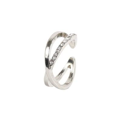 イヤーカフ リング兼用 フープ 重ね付け風 クロス キラキラ 細い 華奢 指輪 金属アレルギー対応