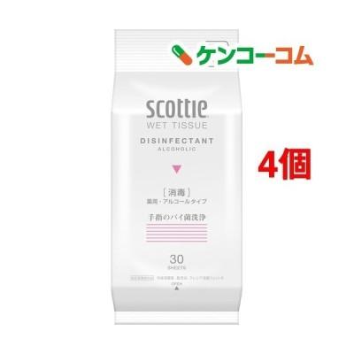 スコッティ ウェットティシュー 消毒 携帯用 ( 30枚入*4コセット )/ スコッティ(SCOTTIE) ( ウェットティッシュ )
