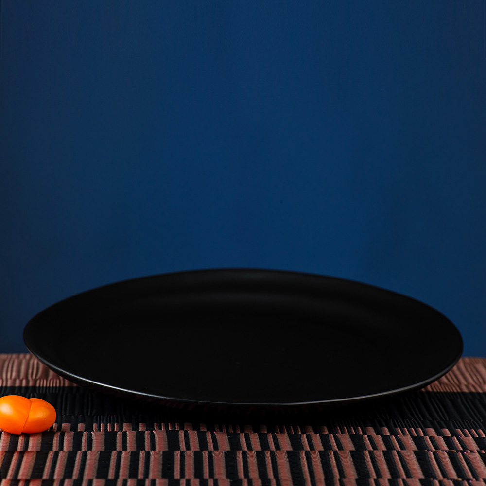 夜空黑曜瓷泥餐盤25CM