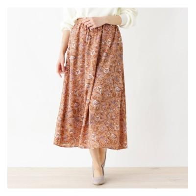 【サンカンシオン/3can4on】 【手洗いOK】更紗プリントフレアロングスカート
