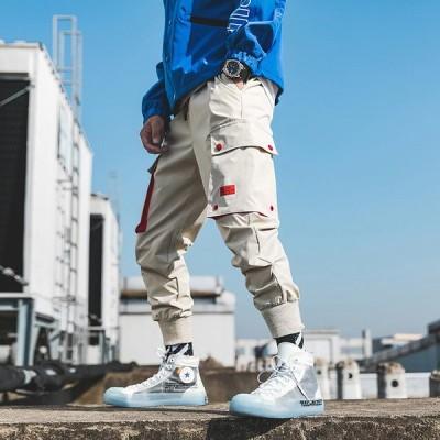 メンズ カーゴパンツ 大きいサイズ 裾ゴム スウェットパン ジョガーパンツ 配色 春パンツ 2019 M54