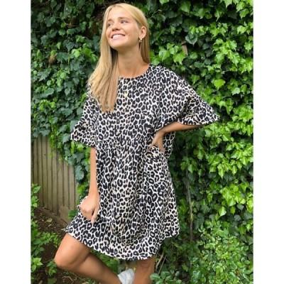 エイソス レディース ワンピース トップス ASOS DESIGN mini smock dress with frill sleeve in animal print