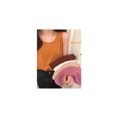 タンクトップ ノースリーブ Tシャツ レディース 無地 細身 スリット 通勤 おしゃれ カジュアル  トップス インナー ファッション 夏物 新作