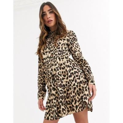 ミスガイデッド ミディドレス レディース Missguided button front shirt dress in leopard エイソス ASOS マルチカラー