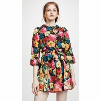 アリス アンド オリビア alice + olivia レディース ワンピース ワンピース・ドレス Mina Puff Sleeve Godet Dress with Belt Just Bloom