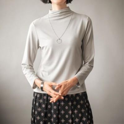 レディースファッション レディース トップス Tシャツ 【バーゲン】テンセル™繊維混ボトルネックTシャツ(日本製) S LL|3795-492989