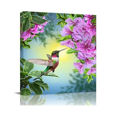 Modern Giclee Canvas Prints Stretched Artwork Hummingbirds and Brilliant Flowers Pictures to Photo Paintings on Canvas Wall Art for Home Bed