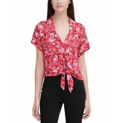 カルバンクライン レディース シャツ トップス Leopard-Print Shirt Stnl Flrl S