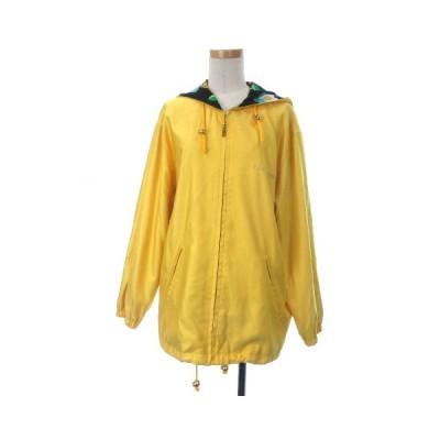 【中古】レオナールスポーツ LEONARD SPORT ジャケット ジップアップ フード パーカー ロゴ 裏地花柄 F 黄色 イエロー レディース 【ベクトル 古着】