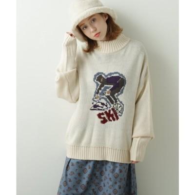ダブルネーム DOUBLE NAME ジャガードモチーフニット(スキー) (生成)