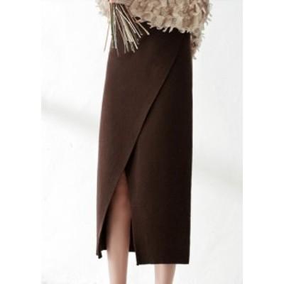 ハイウェストスカート ニット ミモレ丈 大きいサイズ ゆったり スリット 秋冬 黒 ブラウン 大人女子 10代 20代 30代 お出かけ デート 可
