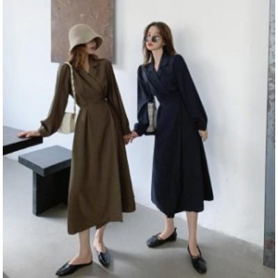 韓国 ファッション レディース ワンピース ロング Vネック ハイウエスト フレア Aライン 長袖 無地 大人可愛い カジュアル 上品 レトロ