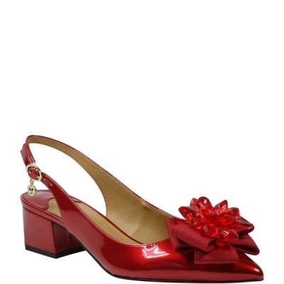 ジェイレニー レディース パンプス シューズ Faaye Pearl Patent Crystal Ornament Bow Slingback Pumps Red Pearl Patent