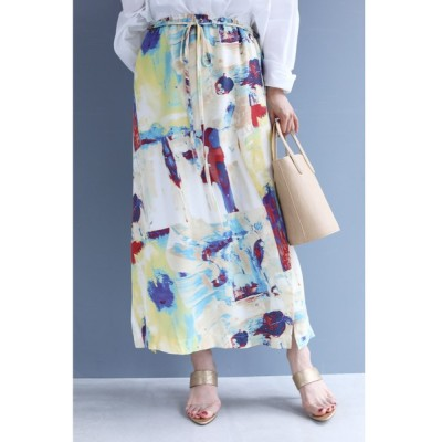 FRENCH PAVE / ペイントアートのとろみミディアムスカート(ウエストリボン付) WOMEN スカート > スカート