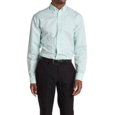 タイガー オブ スウェーデン メンズ シャツ トップス Donald Button Down Collar Dress Shirt 32D GREEN TURQUOISE