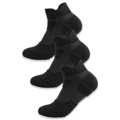 靴下 メンズ スポーツ ソックス 厚手 くるぶし 無地 ショート 黒 白 3足セット 24.5-27.5cm〔SEASON DOOR〕 (ブ