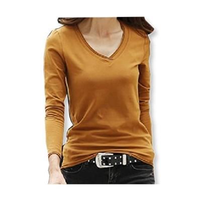 [イーグルハート] Vネックロング Tシャツ 長袖 カットソー トップス 無地 薄手 レディース EH050 (ブラウン L)