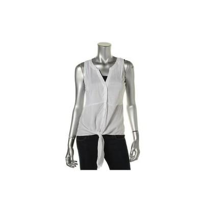 トップス&ブラウス INC INC 0553 レディース ホワイト Tie Front ノースリーブ Solid タンクトップ Shirt L BHFO