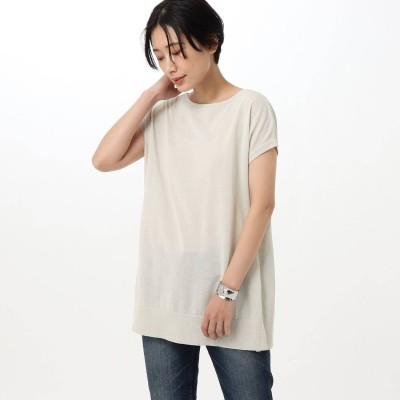 アンタイトル UNTITLED 【洗える】コットンリネンエステルニット (ライトグレー)