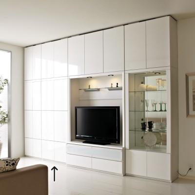 美しく飾れる 壁面収納システム 扉収納庫タイプ 幅80cm ホワイト