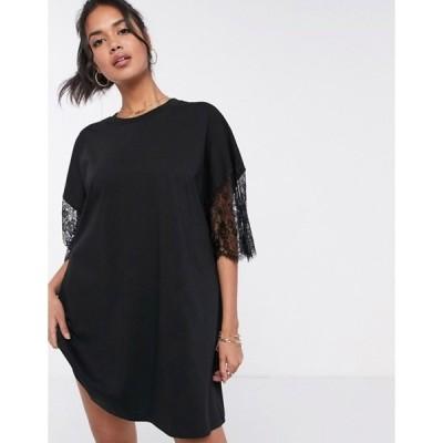 エイソス レディース ワンピース トップス ASOS DESIGN oversized lace sleeve t-shirt dress in black