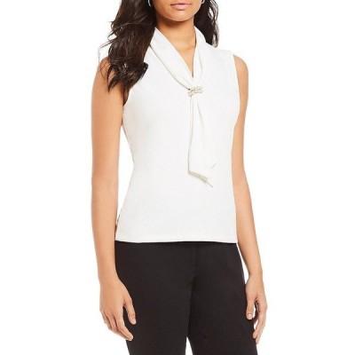 カールラガーフェルド レディース カットソー トップス Matte Jersey Pearl Cluster Tie Knit Top Soft White
