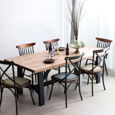 ダイニングテーブル 幅200cm ミックス無垢材 ウレタン塗装 アイアン脚 食卓テーブル 6~8人用 MABEX マベックス 大人数 カフェ風 無骨 天然木 代引不可