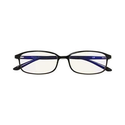 スクエア型 PCメガネ(度なし)|Zoff PC ULTRA TYPE(ブルーライトカット率約50%)|ゾフ PC 透明レンズ (ブラック)