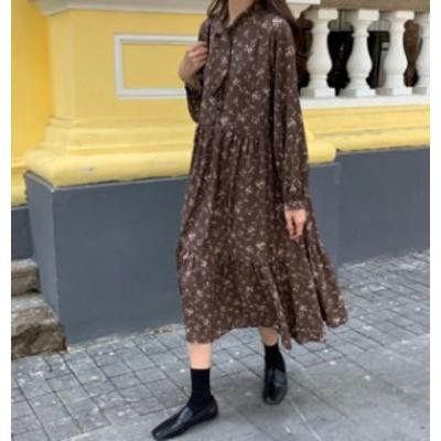 韓国 ファッション レディース ワンピース ロング 花柄 リボン フレア 長袖 ゆったり レトロ カジュアル 大人可愛い 秋冬
