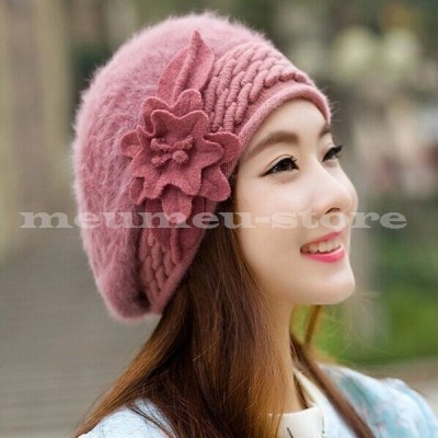 フラワーモチーフ付 ファーニットベレー帽 ファー ニットベレー ベレー帽 ベレー レディース 帽子 ぼうし ふわもこ 温か 防寒 カジュアル ガーリー