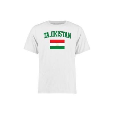海外バイヤーおすすめ Tシャツ トップス ウエア Tajikistan ホワイト フラッグ Tシャツ